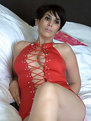 Sensual older businesswomen in ideal shape