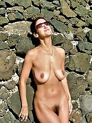 Russian experienced hellcats posing naked outdoors